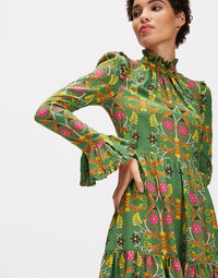 Short Visconti Dress - Stella Alpina Verde in Crepe de Chine
