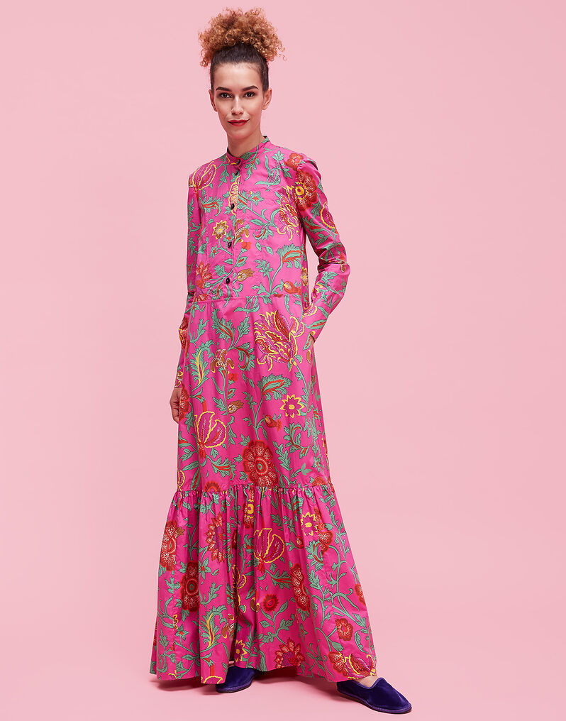 Maxi Shirt Dress - Dragon Flower Fucsia in Cotton