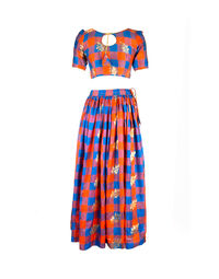Silk top and skirt set 1970s, size 40