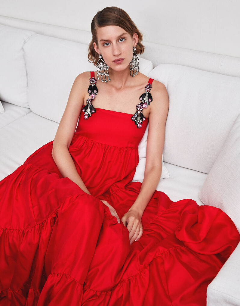 Embroidered Bouncy Dress - Rosso in Silk