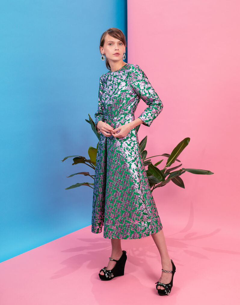 Little Miss Wintour Dress - Check Verde in Brocade