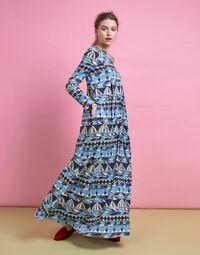 Trapezio Dress in Umbrellas Blu