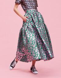 Oscar Skirt - Check Verde in Brocade