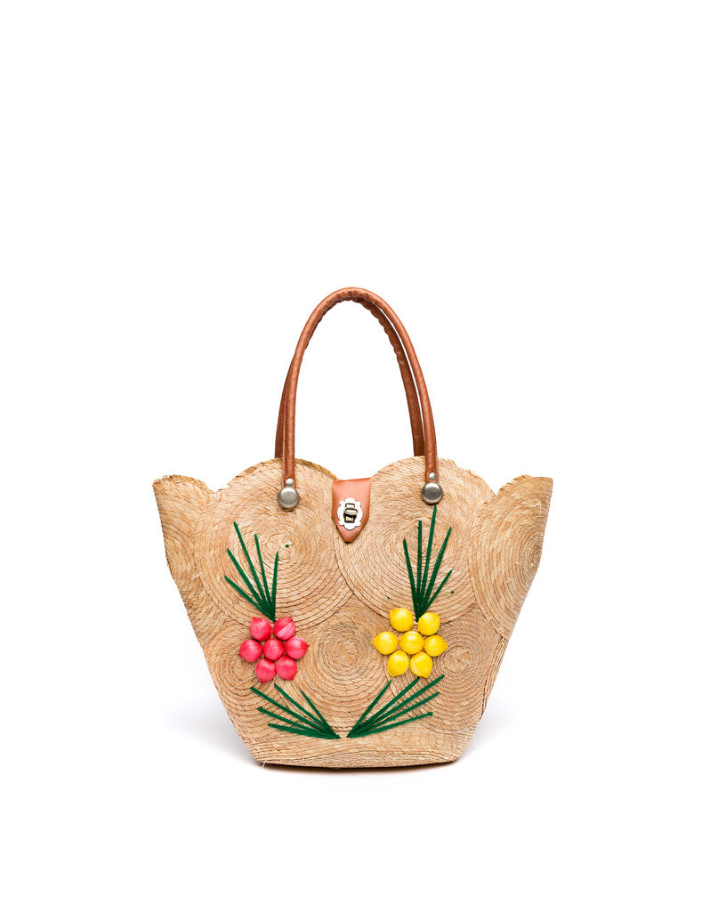 Straw bag with flowers, 1970s
