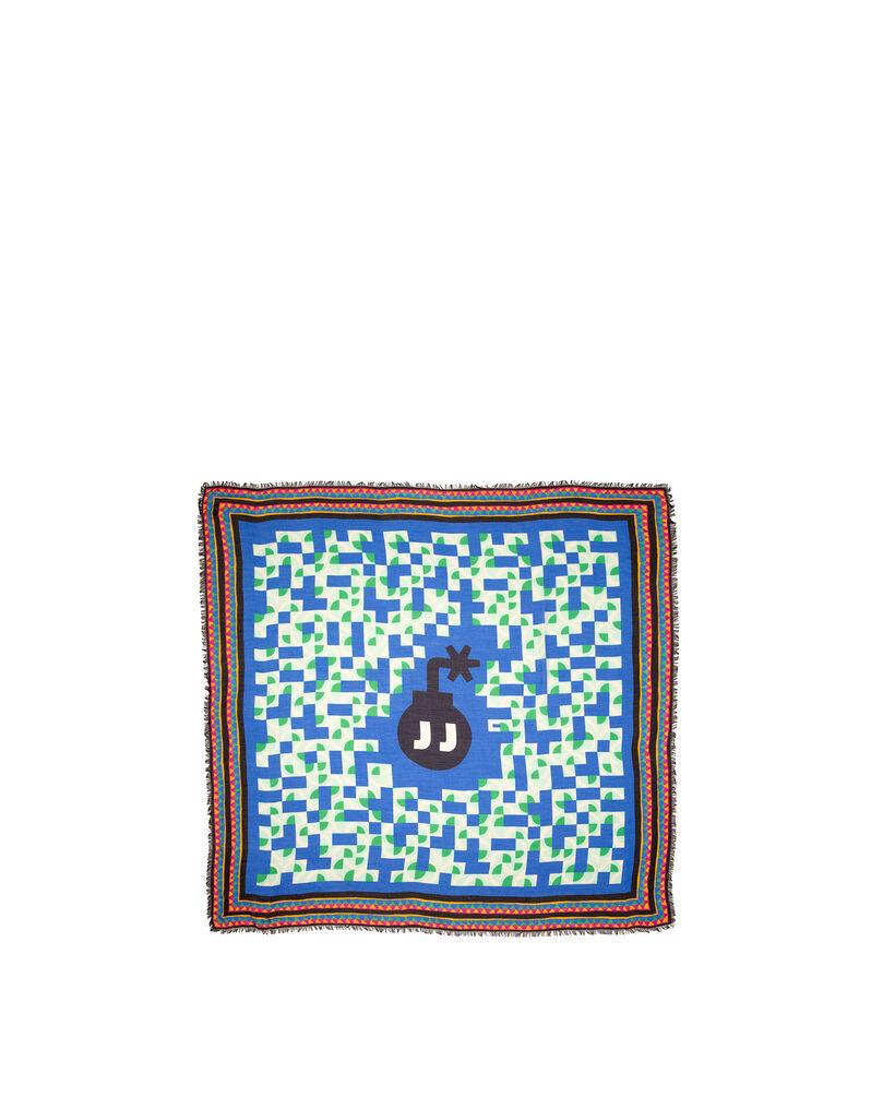Mezza Luna Blu Fringed Scarf (140x140 cm)