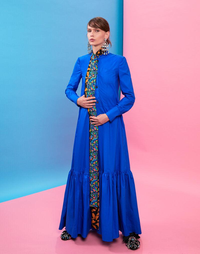 Maxi Shirt Dress - Tinta Unita Blu in Cotton