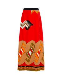 Printed velvet skirt 1970s, size 42