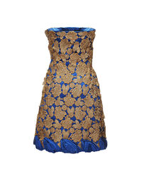 Balestra strapless gold macramé dress, 1980s
