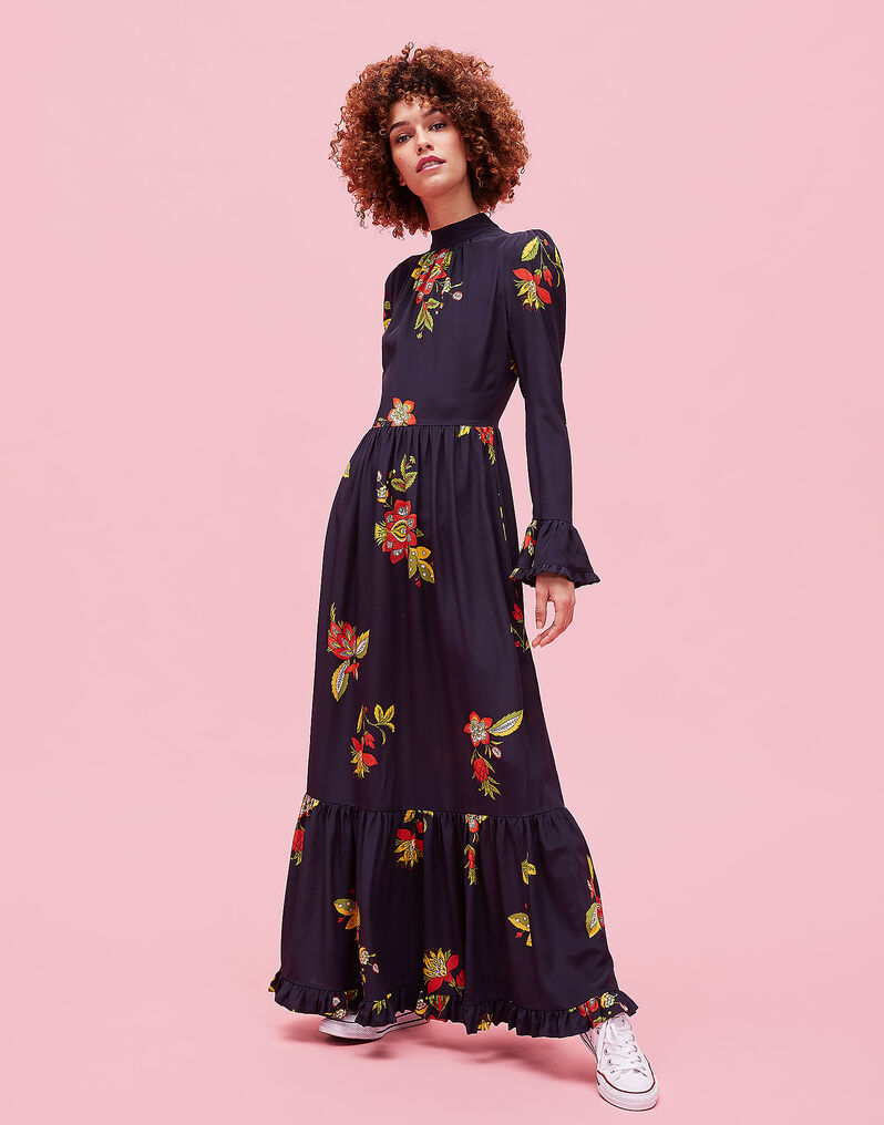 Visconti Dress - Space Flower in Crepe de Chine