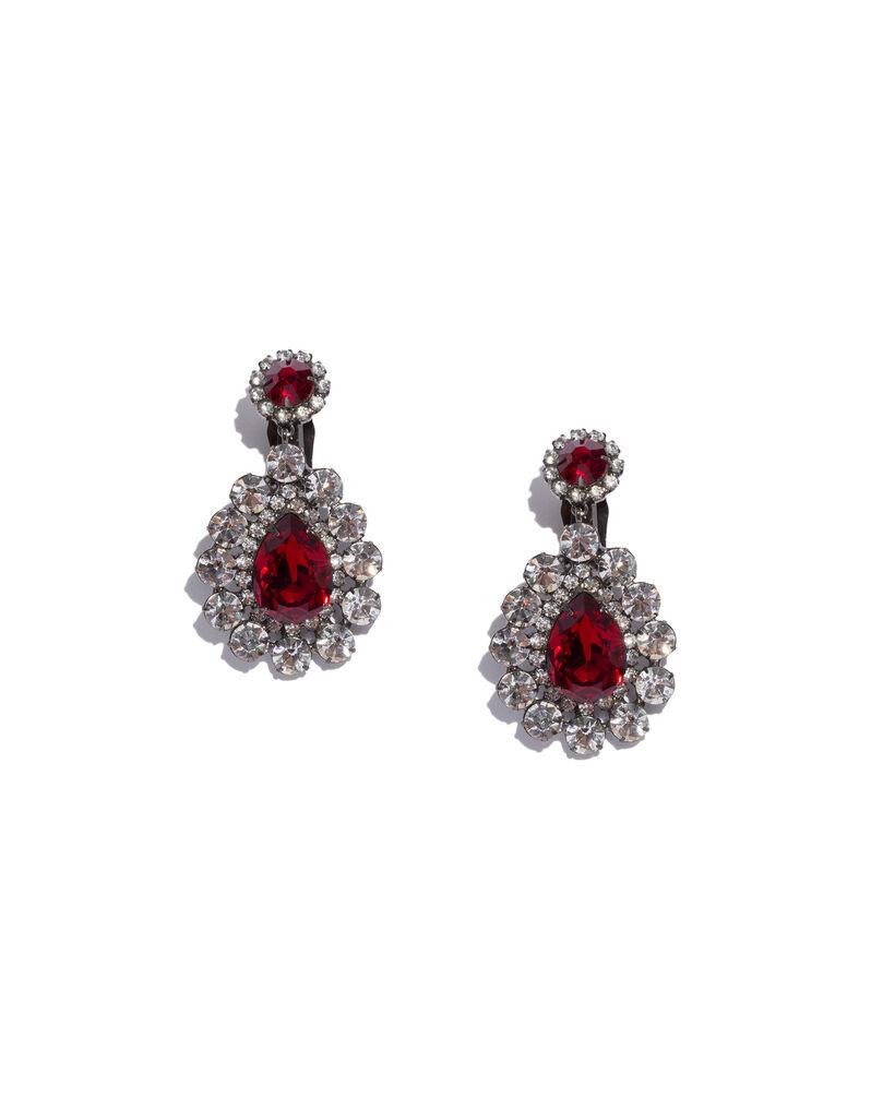 Kenneth Jay Lane rhinestone red drop earrings, 2000s