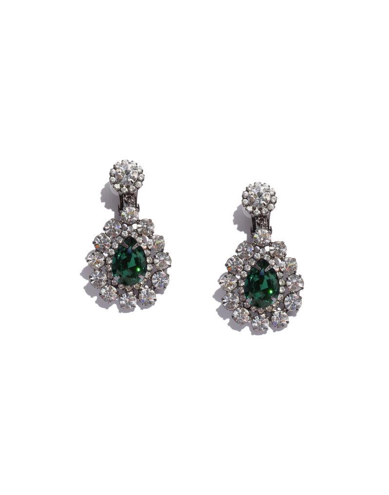Kenneth Jay Lane rhinestone green drop earrings, 2000s