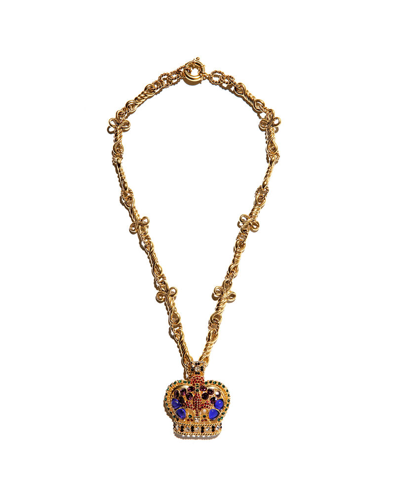 Gianni Versace necklace with a crown pendant by Ugo Correani, c. 1991