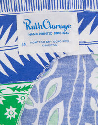 Hand printed top & pant set 1970s, size 42