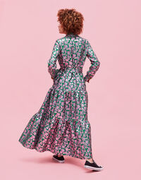 Bellini Dress - Check Verde in Brocade