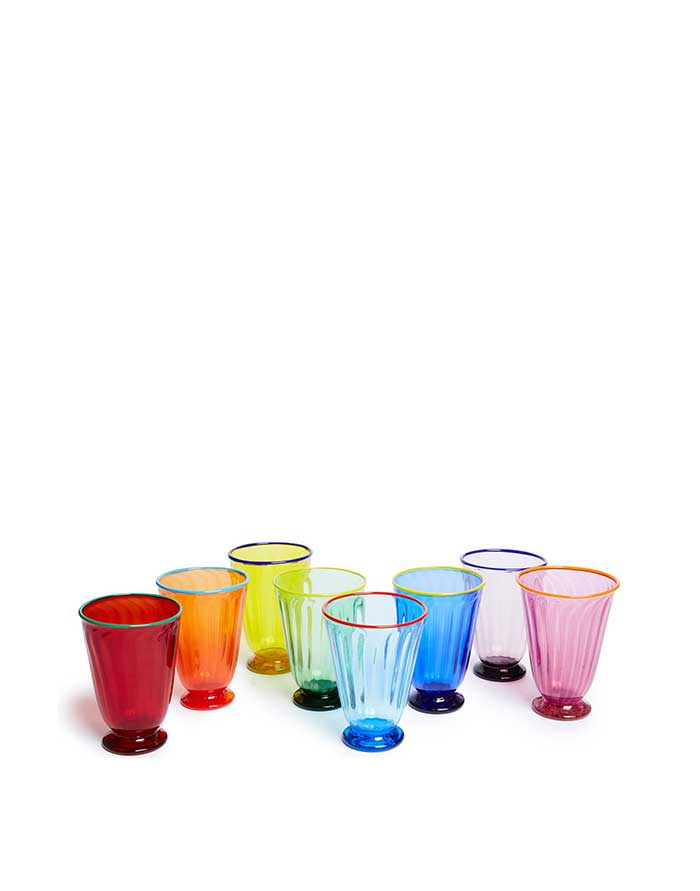 La DoubleJ with Salviati Rainbow Glasses set of 8