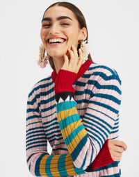 Striped Crew Neck in Rosa Mix 1