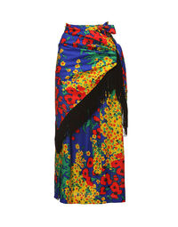 Floral wrap-around skirt with shawl, 1970s