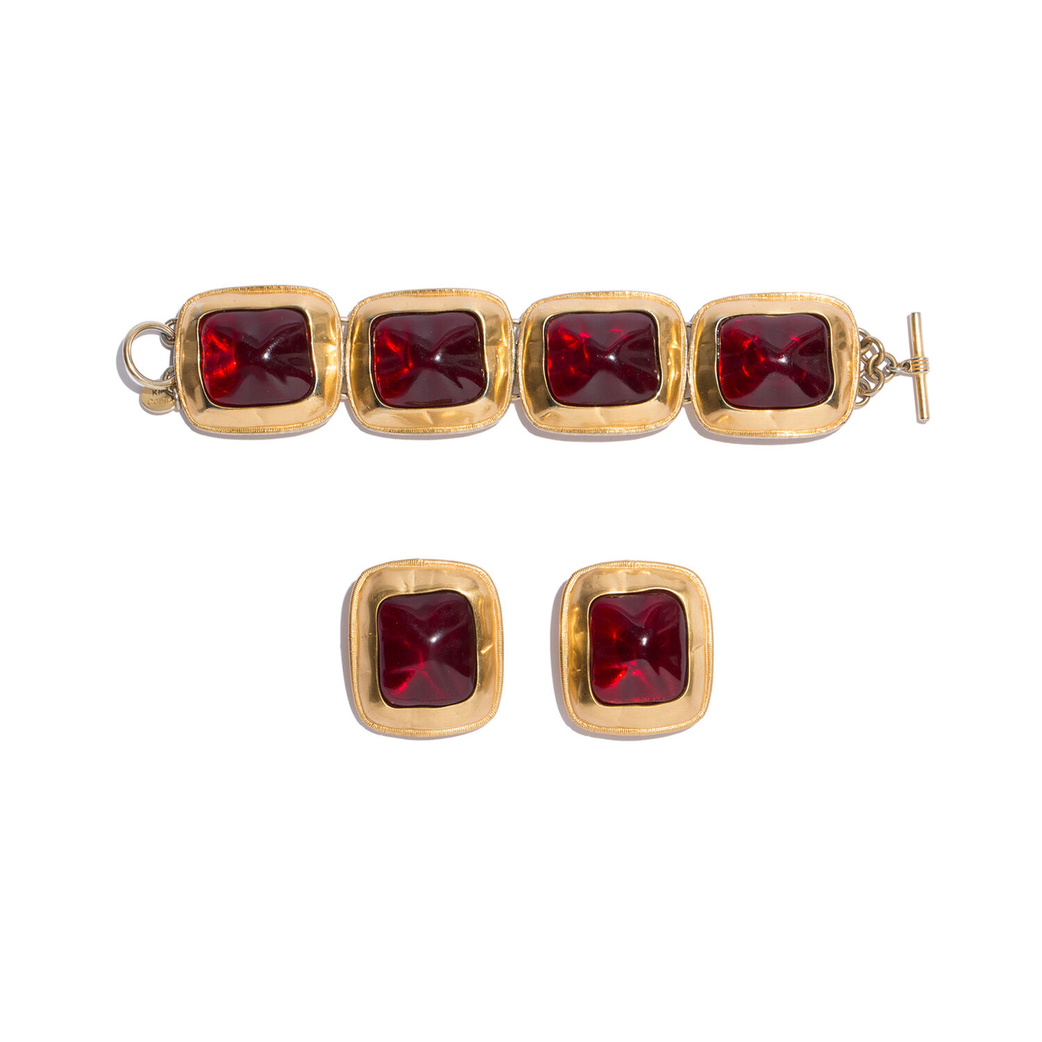 ANNE KLEIN | Anne Klein Jewelry Sets Women - Anne Klein Bracelet And Earring Set, 1980s Multicolor Gilded Metal And Stones In The Style Of Amber | Goxip