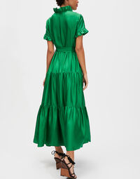Long & Sassy Dress - Tinta Unita Verde in Silk 2
