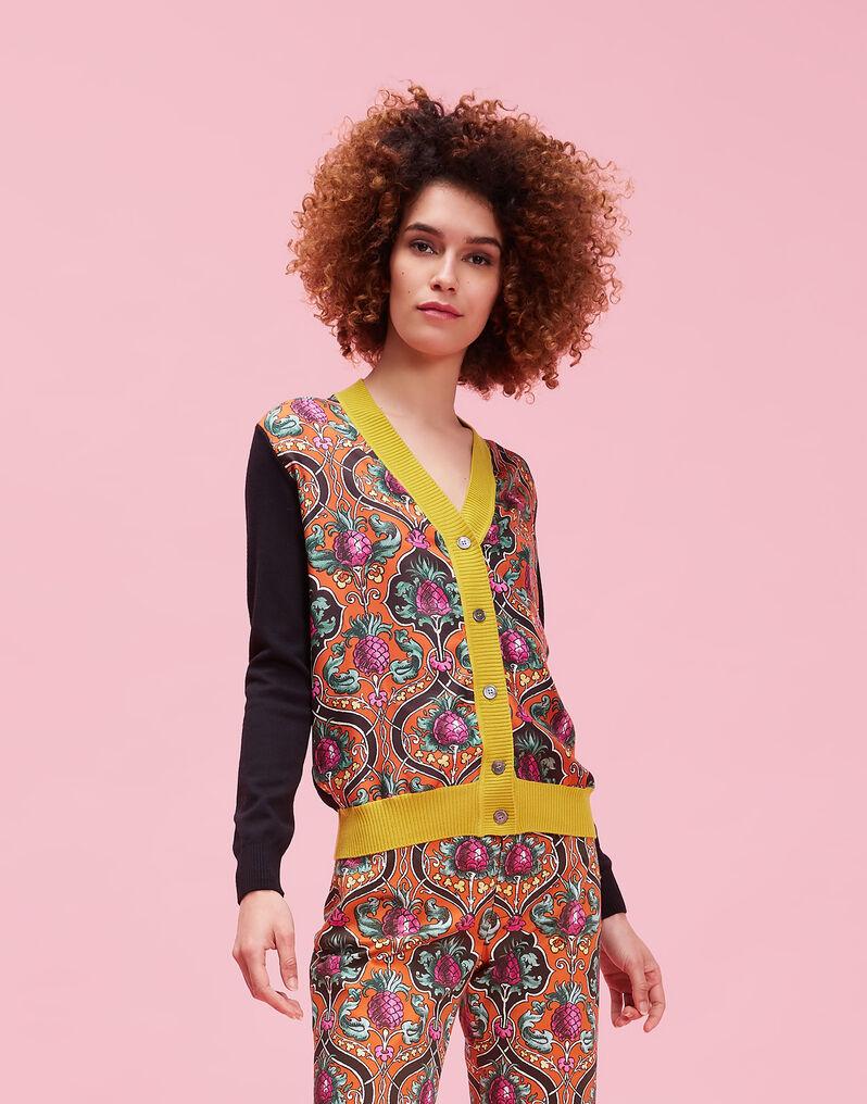 Gemini Cardigan - Ananas Arancio in Silk / Wool