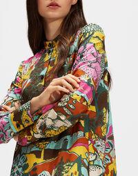 Maxi Shirt Dress - Paesaggio Arancio in Cotton