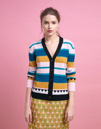 Striped Cardigan in Rosa Mix 1