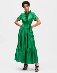 Long & Sassy Dress - Tinta Unita Verde in Silk 1