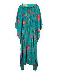 Talitha Kaftan - Dragon Flower Turchese in Silk