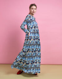 Trapezio Dress in Umbrellas Blu