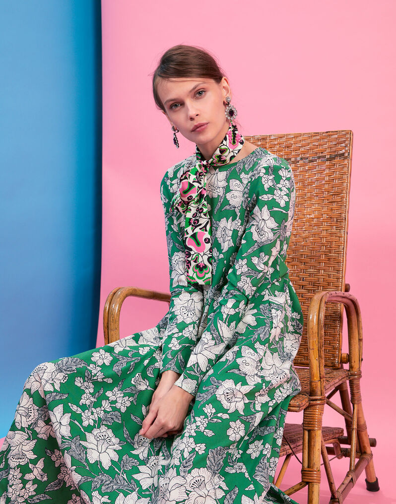 Trapezio Dress - Lilium Verde in Sablè