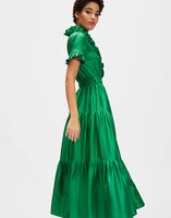 Long & Sassy Dress - Tinta Unita Verde in Silk