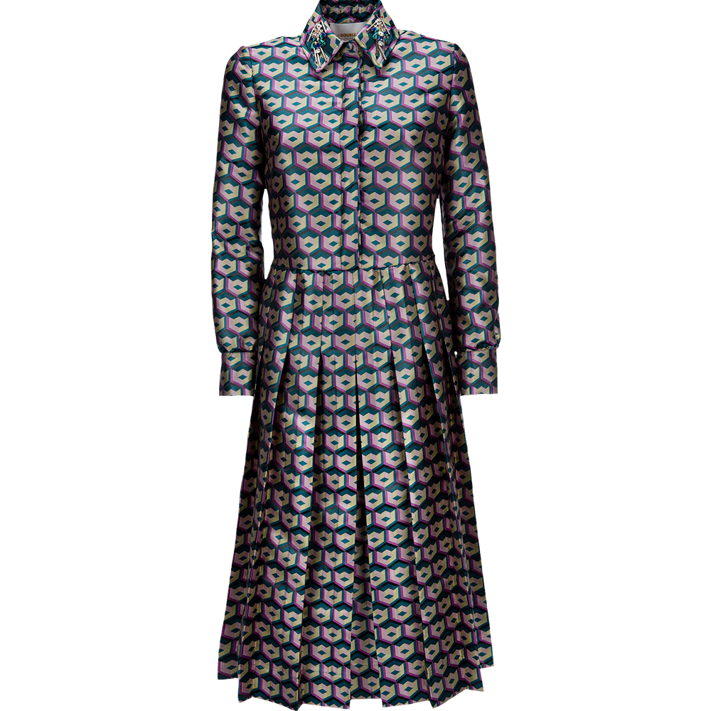 Cubi Verdi Embroidered Chemisier Dress